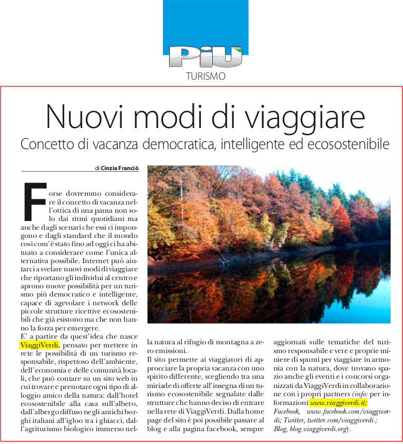 Vacanza democratica intelligente ecosostenibile