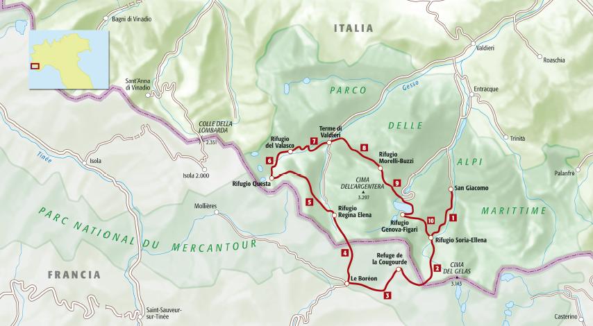 sulle tracce del lupo tra le alpi italiane e francesi, mappa dell'itinerario a piedi