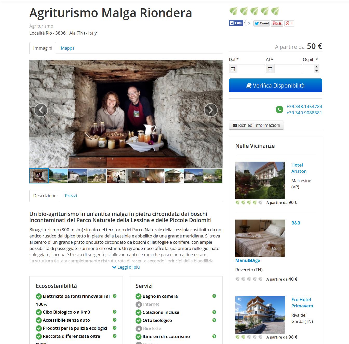 pagina dedicata agli agriturismi ecologici su ViaggiVerdi Ecobnb.com