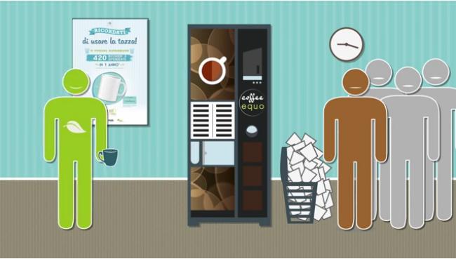 Utilizzando la tazza (invece della plastica) si risparmiano 420 bicchieri ogni anno per dipendente