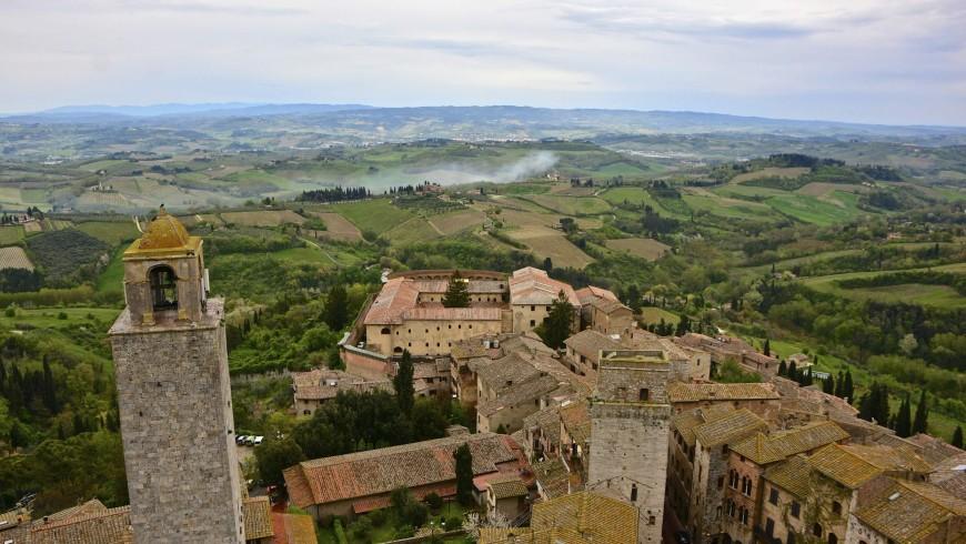 Vista aerea di San Gimignano, Siena, Toscana