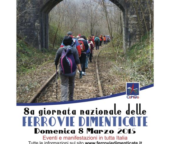 Manifesto ufficiale della Giornata Nazionale delle Ferrovie Dimenticate, foto di Antonello Sica del CAI Salerno lungo la linea Sicignano - Lagonegro nel tratto compreso tra la stazione di Galdo e la fermata di Castelluccio