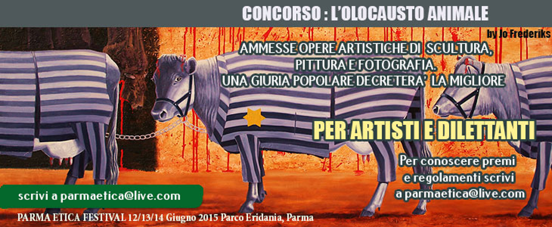 olocausto animale, copertina del premio per artisti organizzato da Parma Etica 2015