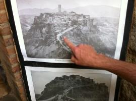 Foto storica di Civita, con l'antico ponte crollato