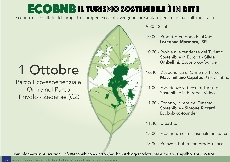 Programma della presentazione finale di EcoDots, Ecobnb il turismo sostenibile è in rete