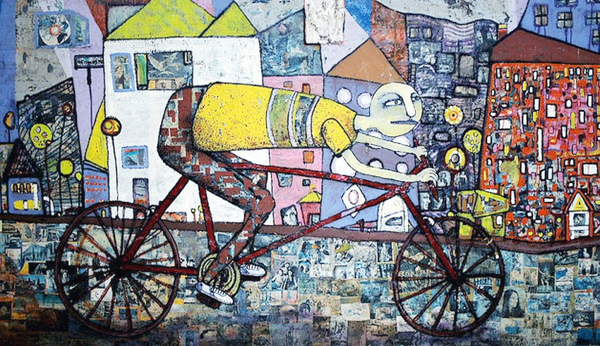 Un graffito rappresentante una bicicletta