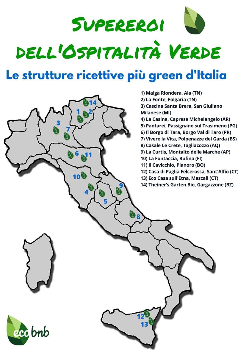 la mappa delle strutture ricettive più sostenibili d'italia