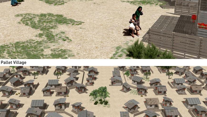 un campo profughi in Somalia con le case in pallet