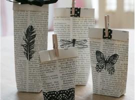 pacchetti regalo con pagine di libro