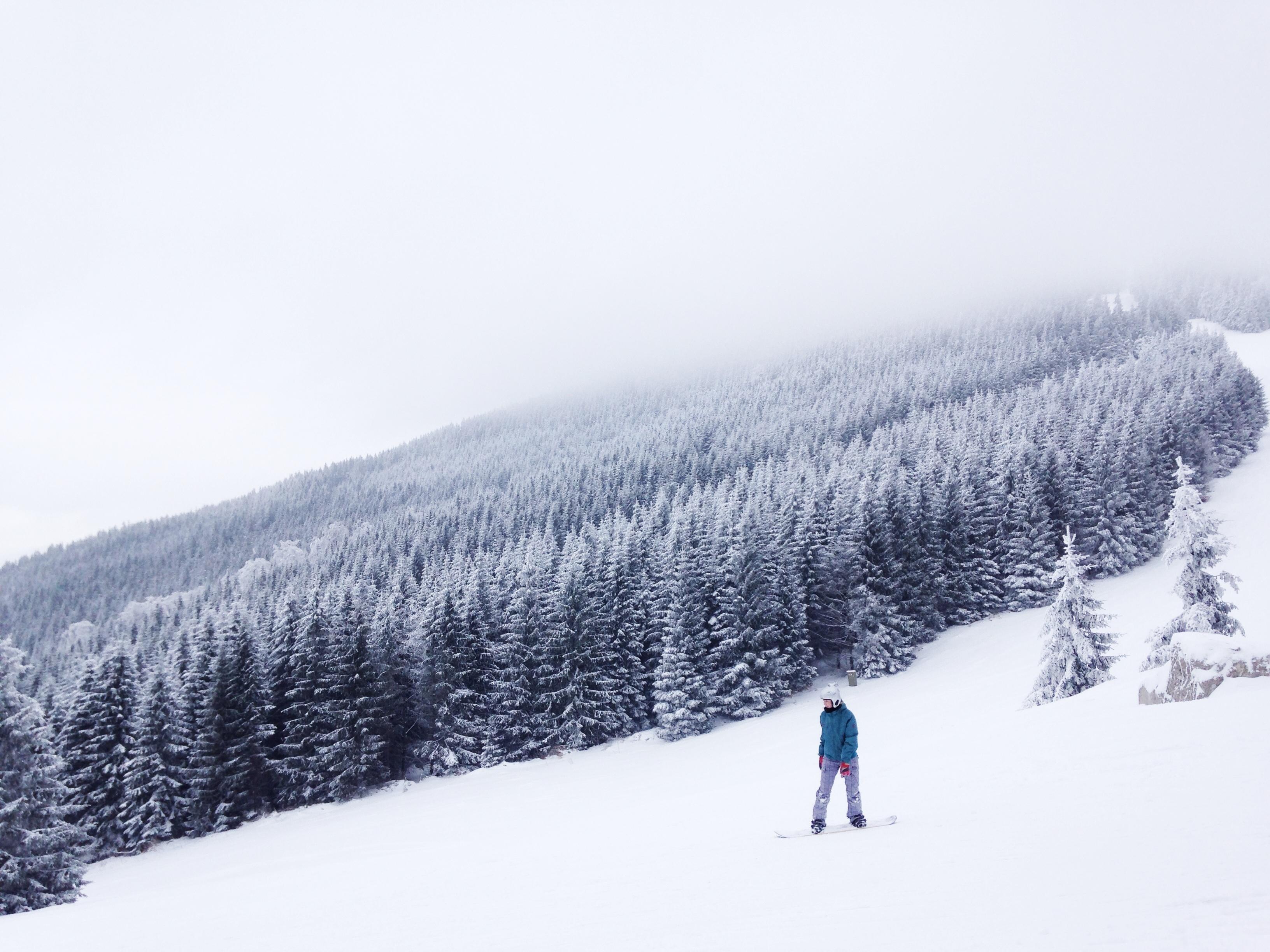 Con lo snowboard sulla neve