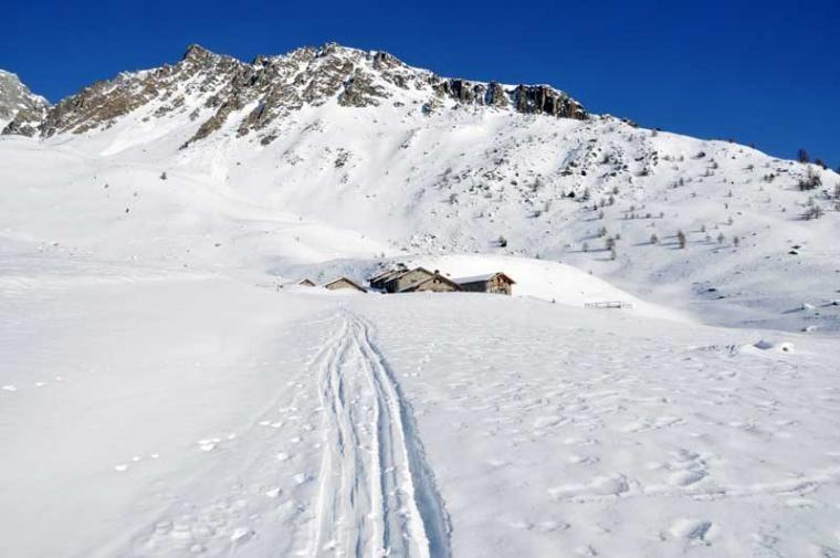 Itinerario con le ciaspole verso l'Alpe Berrier