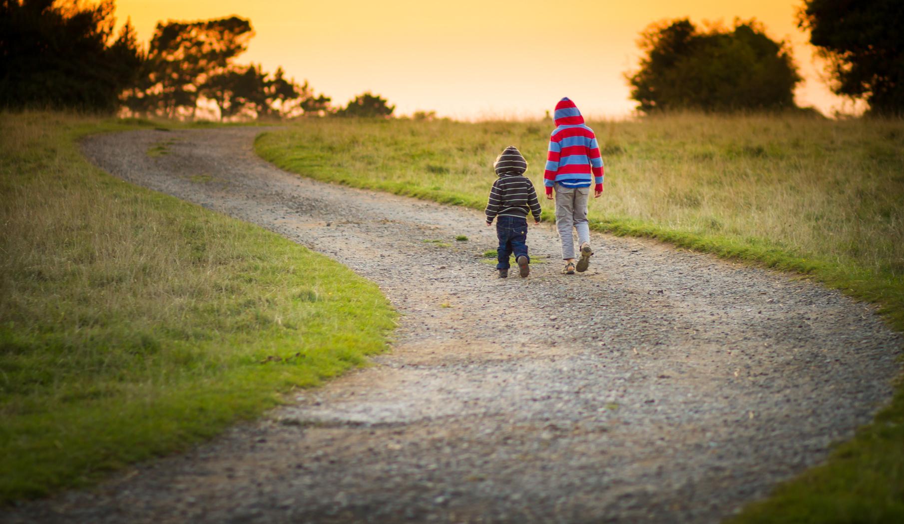due bambini che camminano insieme nella natura