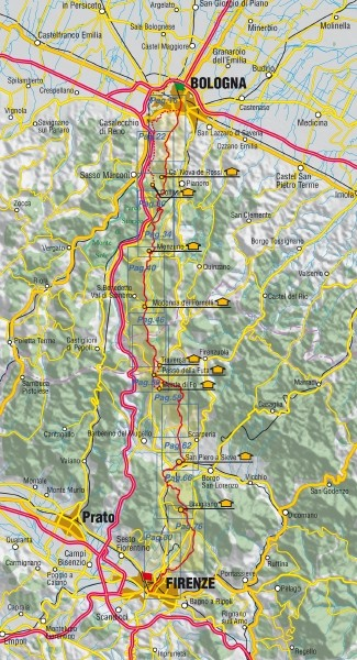la via degli dei, da Bologna a Firenze, Mappa