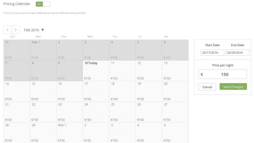 Puoi differenziare i prezzi dei tuoi spazi nei vari periodi dell'anno utilizzando il calendario