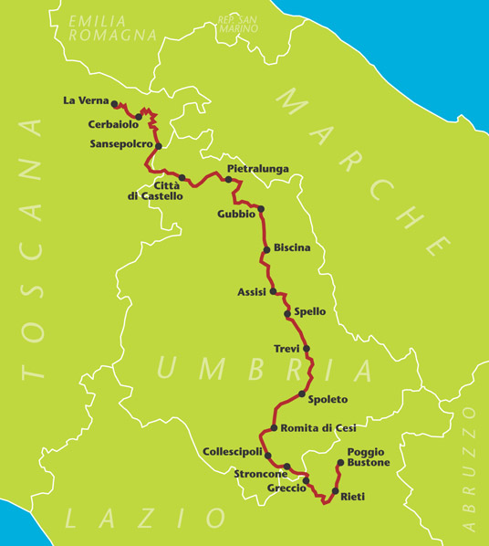 Mappa del Cammino di San Francesco, da Assisi a La Verna