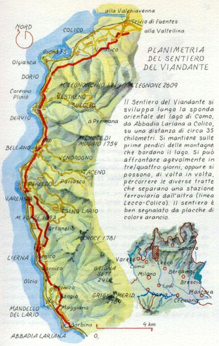 La mappa del sentiero del Viandante, lago di Como