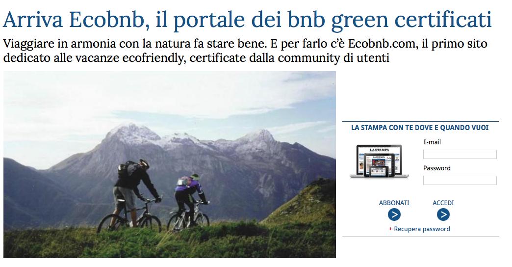 Articolo del quotidiano La Stampa su Ecobnb, portale dei B&B green
