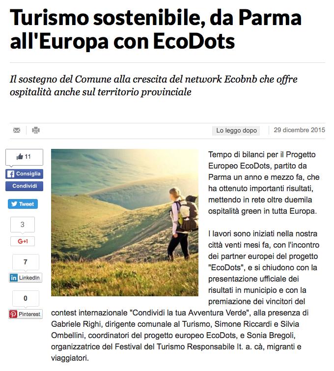 Articolo di La Repubblica Parma su Ecobnb e sul progetto europeo EcoDots