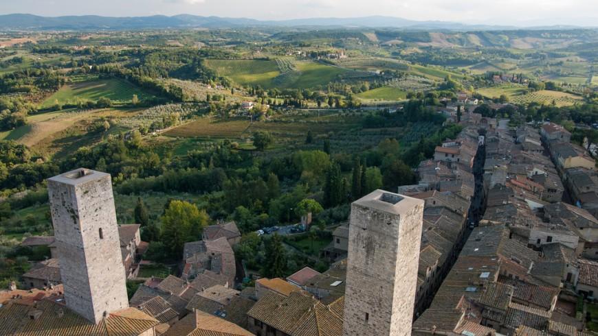 San Gimignano e le sue torri, il punto perfetto per fotografare le colline senesi