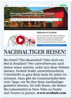 Articolo su Ecobnb nella rivista tedesca Holiday and Lifestyle
