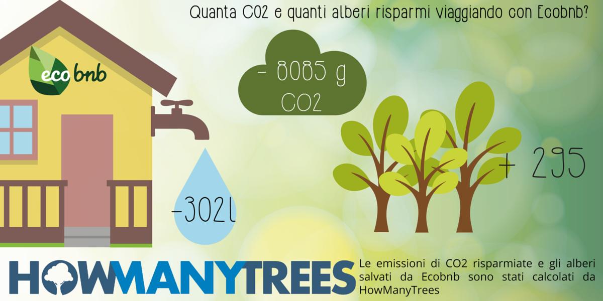 Quanta CO2 e quanti alberi risparmi viaggiando con Ecobnb?