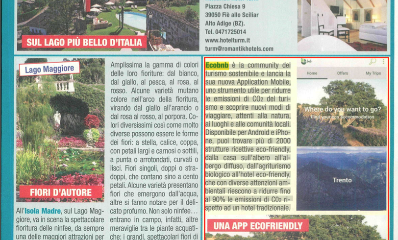 L'articolo del settimanale Mio sull'app di Ecobnb
