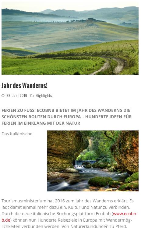 La rivista tedesca Wellness Magazin parla di Ecobnb