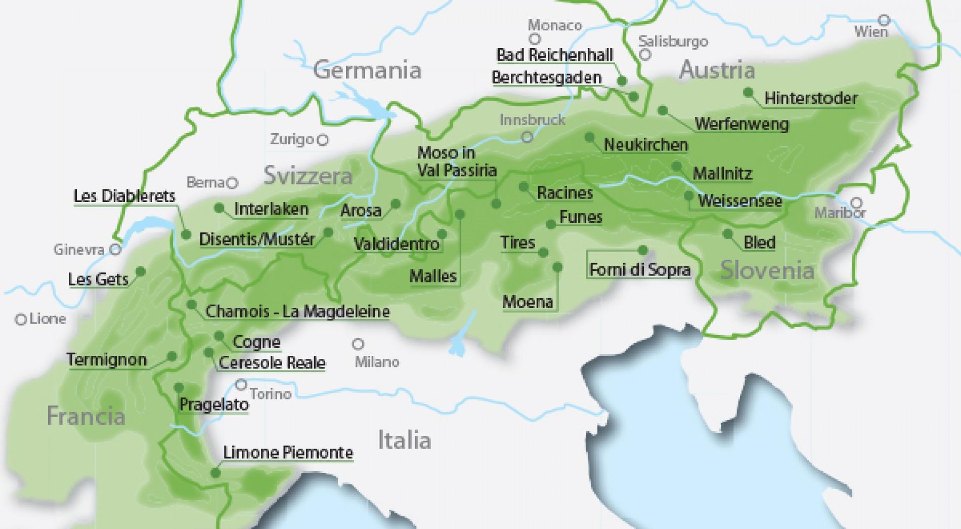 Mappa delle Perle Alpine, o Alpine Pearls, tra cui anche Moso in Val Passiria