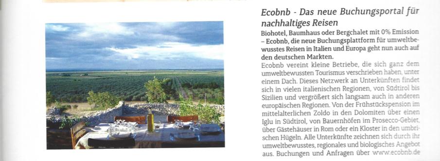 Ecobnb sulla rivista tedesca Magazin Exclusiv