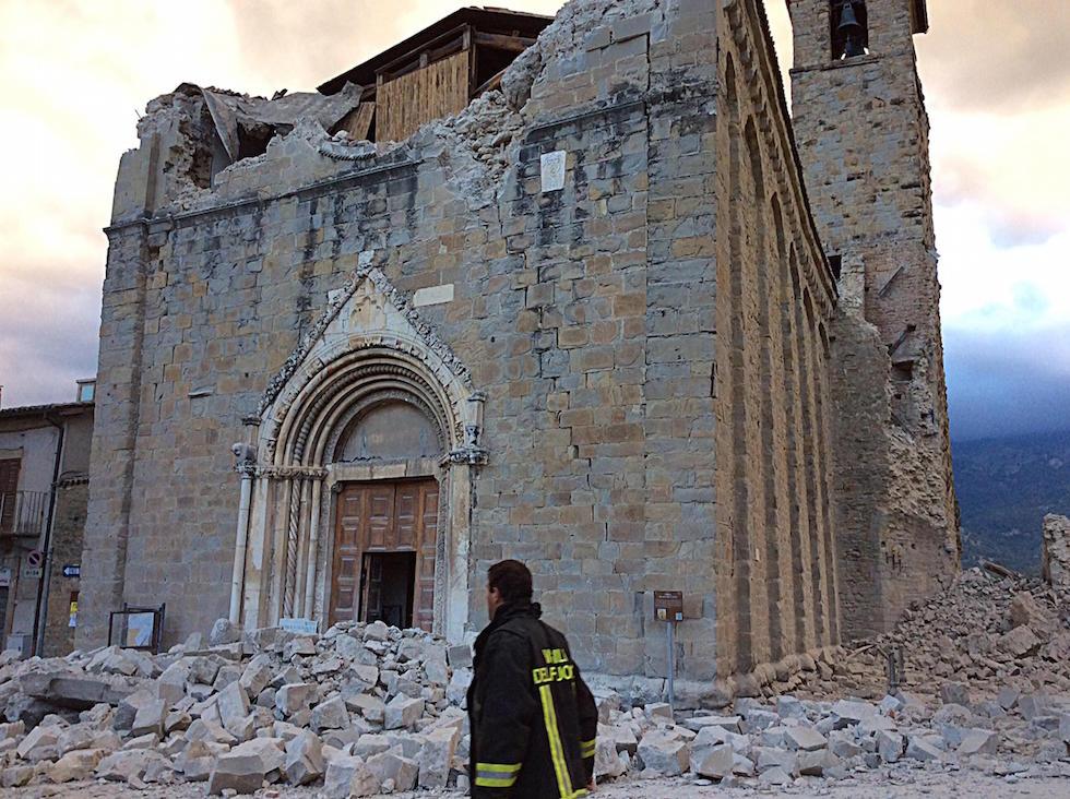 Il centro di Amatrice dopo il terremoto, 24 agosto 2016