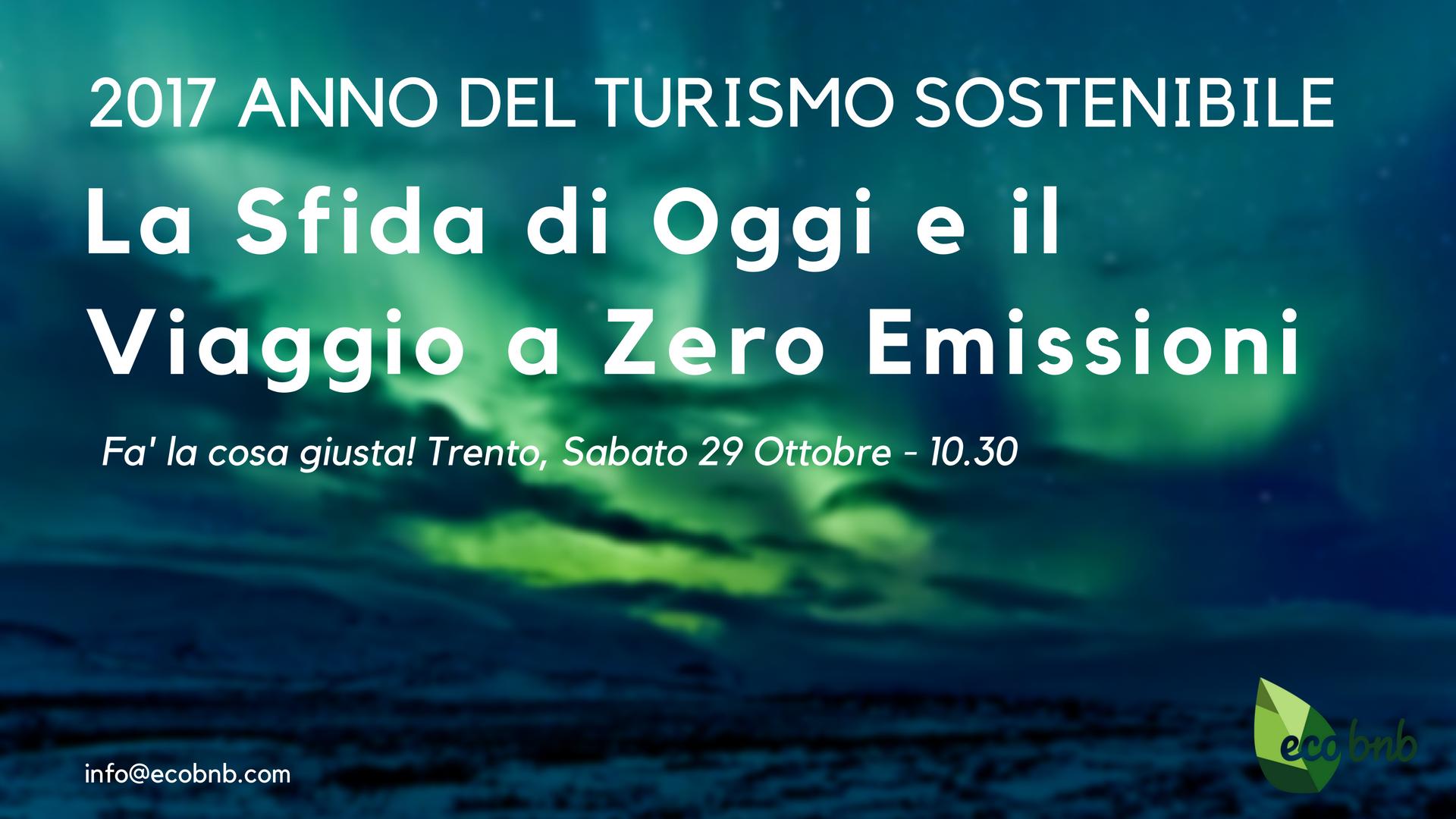 La sfida di oggi e il viaggio a zero emissioni, conferenza a fa' la cosa giusta! Trento