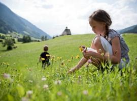 Bimba che raccoglie i fiori in montagna - Mobilità dolce nelle perle alpine