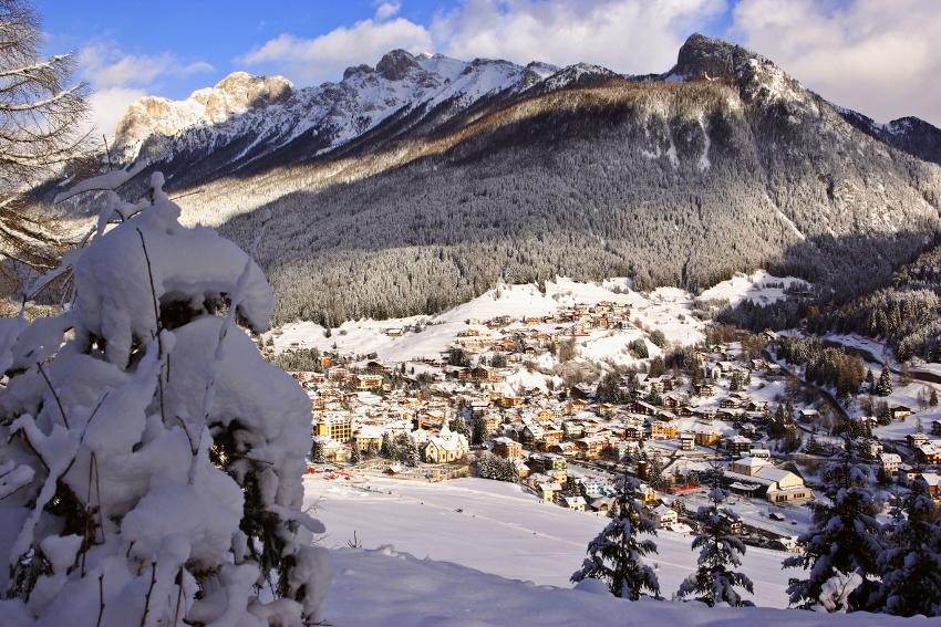 Il paesaggio di Moena d'inverno