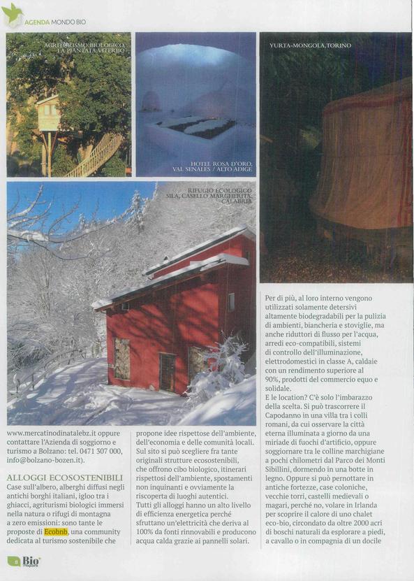 Articolo di BioMagazine su turismo sostenibile e Ecobnb