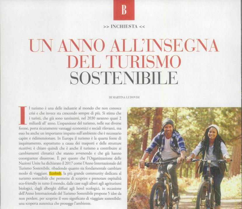 Sulla rivista Bella i Viaggi Eco da non perdere nel 2017