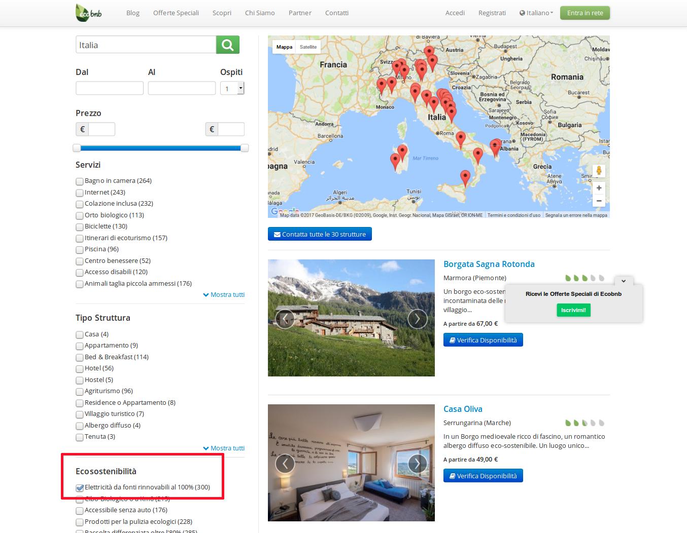 Ecobnb: mappa degli hotel e dei B&B con energia pulita in Italia