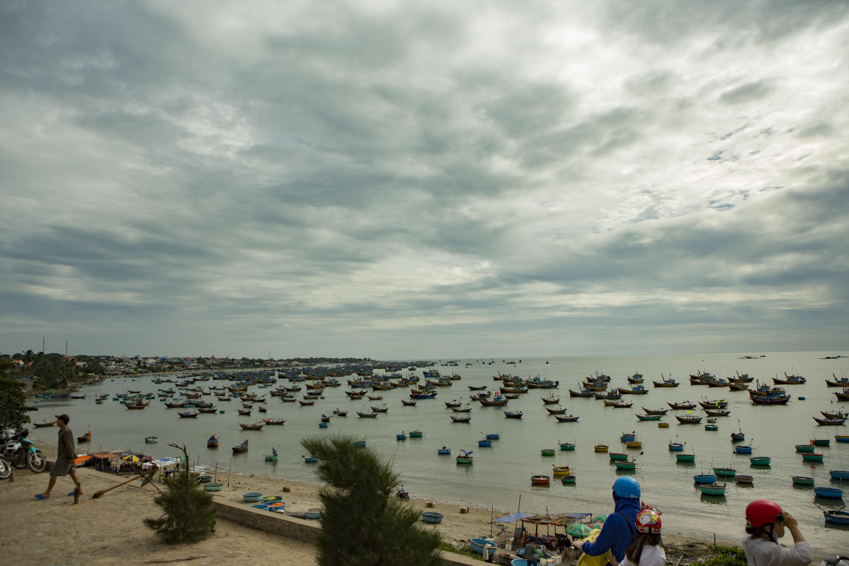 barche da pesca tradizionali nel porto di Mui Ne, Vietnam