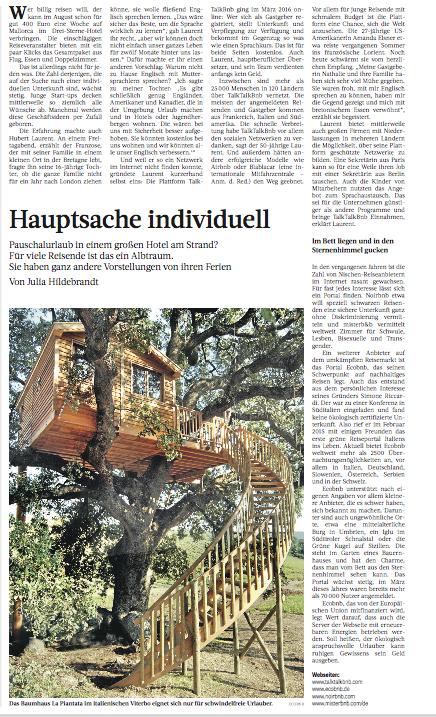 Frankfurter Rundschau scrive di Ecobnb