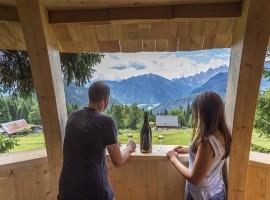 Finesta panoramica sulle Alpi, dalla casa sull'albero Pigna