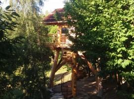 Vista esterna della casa sull'alberoa Pamaparato, in provincia di Cuneo, Piemonte