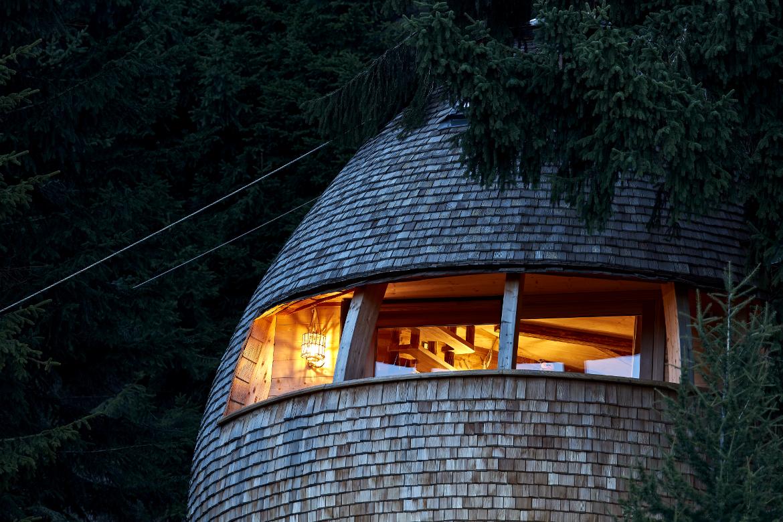 Casa sull'albero Pigna in notturna, finestra panoramica,