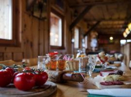 Tavola imbandita di prodotti bio, Almgasthaus Hiasl Zibenhütte, alloggi verdi