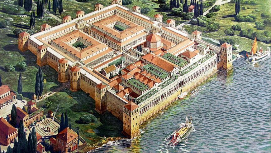 Ricostruzione dell'aspetto originale del palazzo di Diocleziano nel 305 dC, di Ernest Hébrard