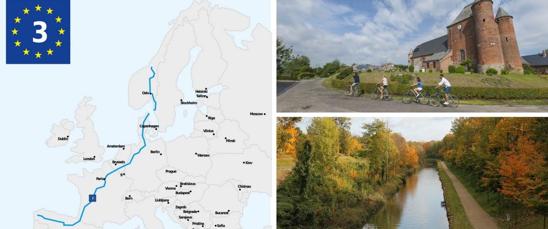 Eurovelo 3: la via dei pellegrini. Il percorso è lungo circa 4250 km e si estende dalla Norvegia alla Spagna attraversando le strade seguite dai pellegrini per recarsi nei luoghi di culto.