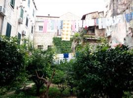 Un giardino verde nascosto tra le mura del centro storico di Spalato.