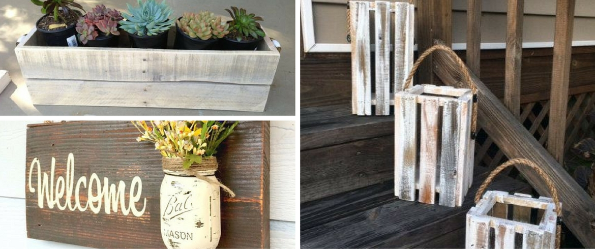 Decorations, pallets, signs, candles, vase