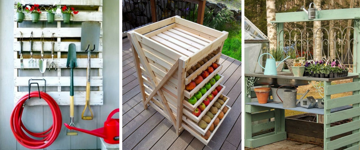 Pallets, storage box, container, tools for gardening