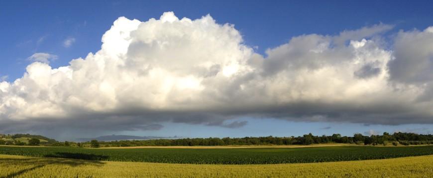 Paesaggio naturale della Maremma Toscana, nuvole e verde attorno all'agriturismo biologico sant'Egle