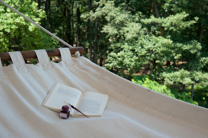 Hammock, book, bed and breakfast