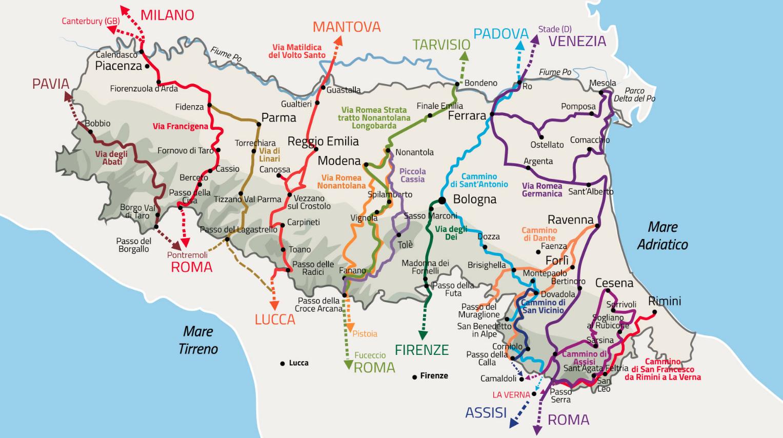 Map of the 14 routes in Emilia Romagna
